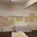 En hel vägg med idéer, en del lätta att realisera andra kommer kräva mer resurser. Matris och diskussion hjälper till att prioritera