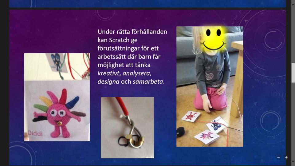 En presentation från kvällen var hur man kan arbeta i Scratch tillsammans med barn.