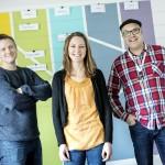 Makerpedagogerna Per Falk, Amanda Edin och Magnus Kortell